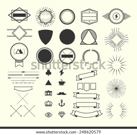 set of vintage elements for making logos, badges and labels, vector illustration - stock vector