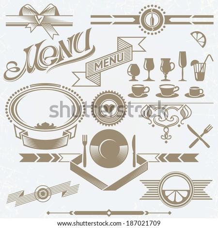 Set of Vintage Elements for Menu Board, including Frames, Icons and Vignettes - stock vector