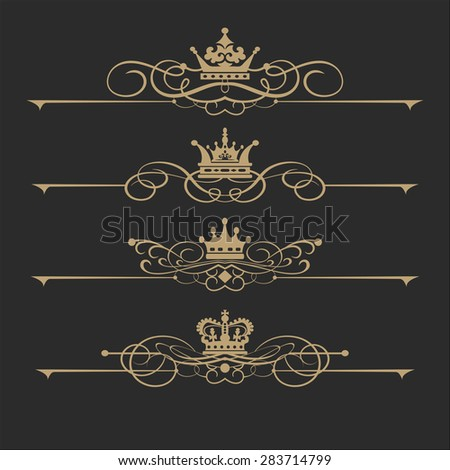 Set of vintage elements retro style design luxury calligraphic gold color on black background ornaments for Invitations banners posters logotypes for your design vector image - stock vector