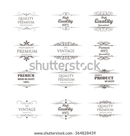set of vintage elements with premium quality ; vector illustration - stock vector