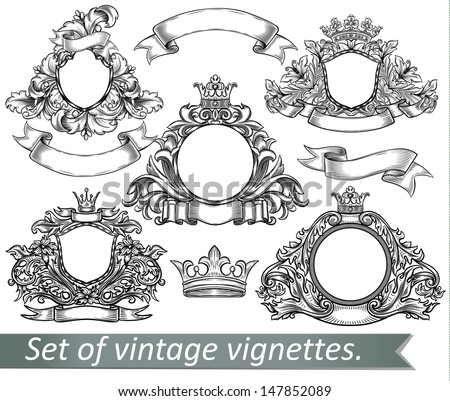 Set of vintage emblem with crowns and ribbons. - stock vector