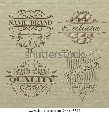 Set of vintage emblem, with space for text. - stock vector