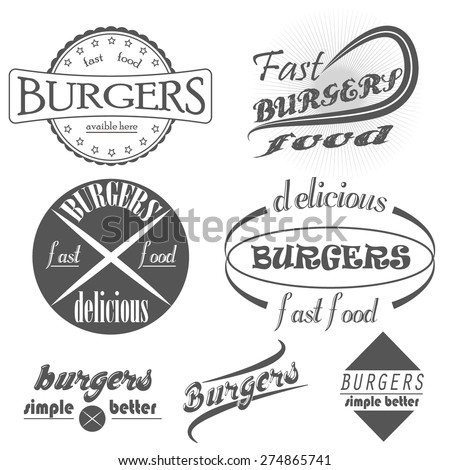set of vintage fast food restaurant signs, panel, badge and label  - stock vector