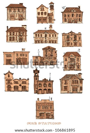 set of vintage fire stations - cartoon - sepia - stock vector