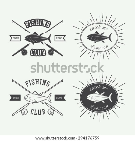 Set of vintage fishing labels, logo, badge and design elements. Vector illustration - stock vector