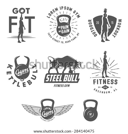 Set of vintage fitness crossfit emblems and design elements - stock vector
