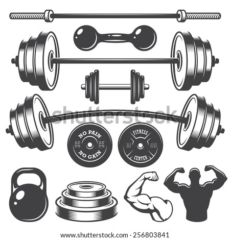 Set of vintage fitness designed elements. Monochrome style - stock vector