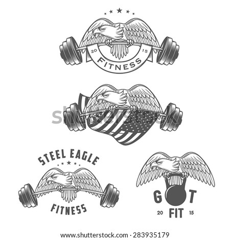 Set of vintage fitness emblems and design elements - stock vector