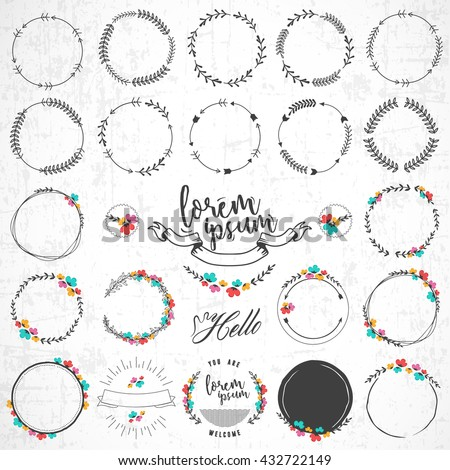 Set of Vintage Floral and Natural Round Badges on Grungy Background - stock vector