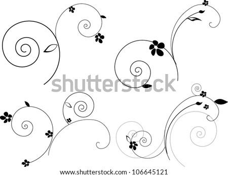 Set of vintage floral elements - stock vector