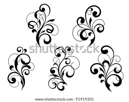 Set of vintage floral elements and vignettes. Jpeg version also available in gallery - stock vector