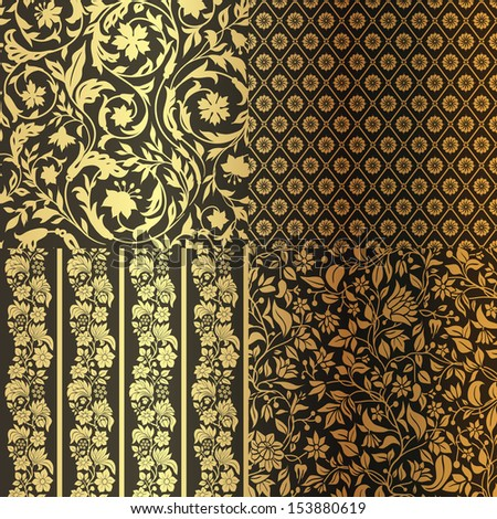 Set of Vintage Floral seamless ornate patterns. Four in One. Gold with Black - stock vector