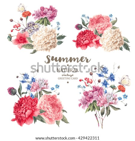 Set of vintage floral vector bouquet of peonies and garden flowers, botanical natural flowers peonies Illustration on white. Summer floral peonies greeting card, flower decoration bouquet - stock vector