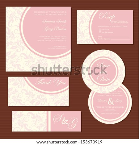 Set of vintage floral wedding invitation cards. Vector illustration - stock vector