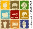 Set of Vintage food icons on separate labels - Retro Signs poster, vector illustration - stock vector