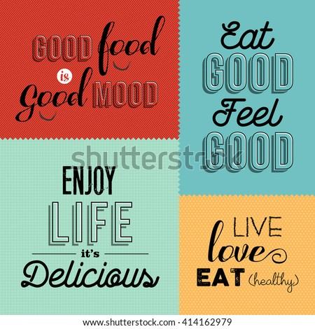 Set of vintage food quotes in colorful designs ideal for restaurant or gourmet business. EPS10 vector. - stock vector