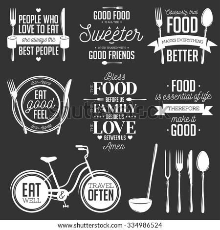Set vintage food related typographic quotes stock vector for Kitchen design quotes