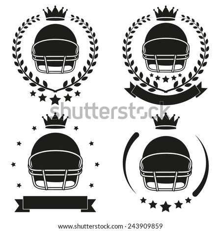 Set of Vintage Football Club Badge and Label with helmet. Emblem of sport team and event. Vector icons isolated on background. - stock vector
