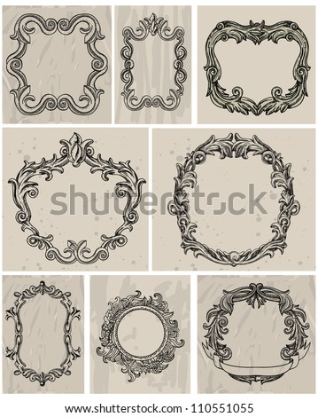 Set of vintage frames and design elements - vector illustration - stock vector
