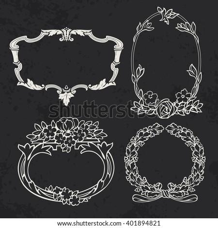 Set of vintage frames, design elements. - stock vector