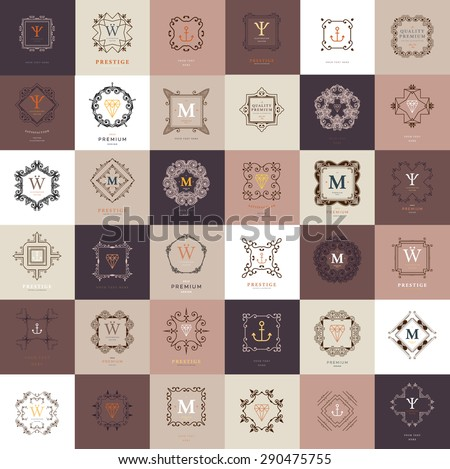 Set of Vintage Frames for Luxury Logos, Restaurant, Hotel, Boutique or Business Identity. Royalty, Heraldic Design with Flourishes Elegant Design Elements. Vector Illustration Templates Collection. - stock vector