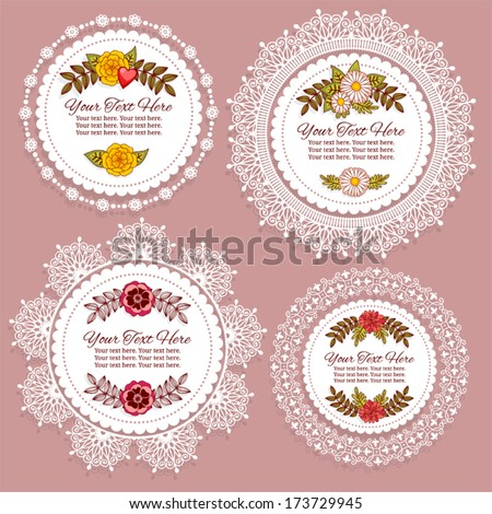 Set of vintage frames for text or photo  - stock vector