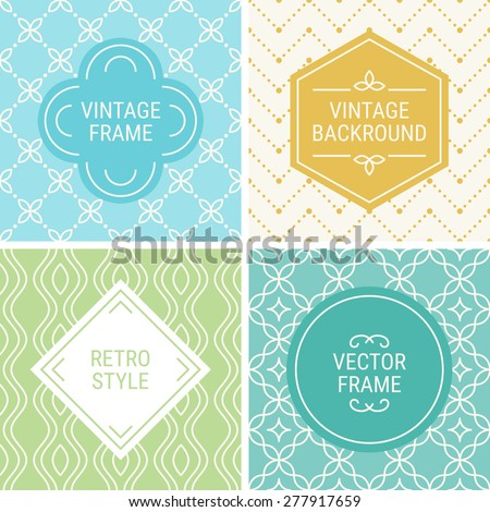 Set of vintage frames in Blue, Turquoise, Gold, Green and Beige on mono line seamless background. Perfect for greeting cards, wedding invitations, retro parties. Vector labels and badges - stock vector