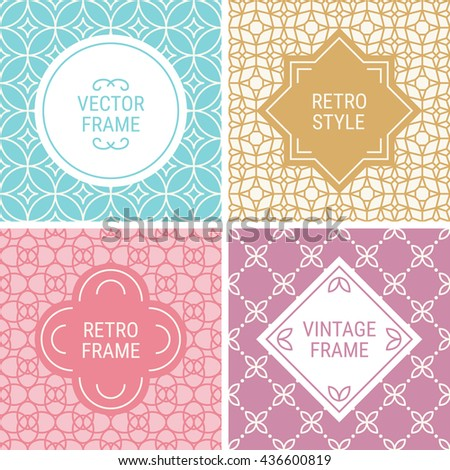 Set of vintage frames in Cyan, Gold, Pink, Purple and Beige on mono line seamless background. Perfect for greeting cards, wedding invitations, retro parties. Vector labels and badges - stock vector