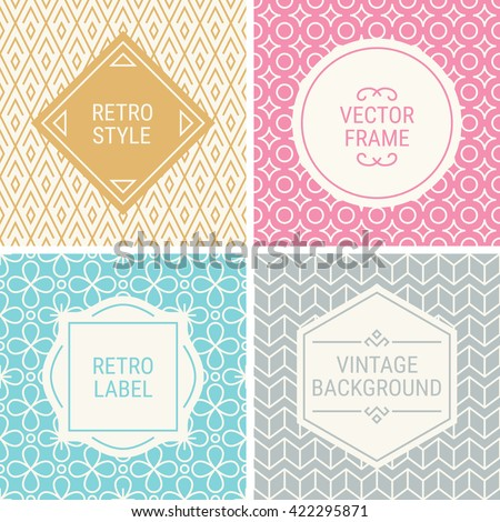 Set of vintage frames in Gold, Pink, Blue, Grey and Beige on mono line seamless background. Perfect for greeting cards, wedding invitations, retro parties. Vector labels and badges - stock vector