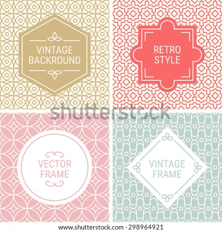 Set of vintage frames in Gold, Red, Pink, Grey and Beige on mono line seamless background. Perfect for greeting cards, wedding invitations, retro parties. Vector labels and badges - stock vector