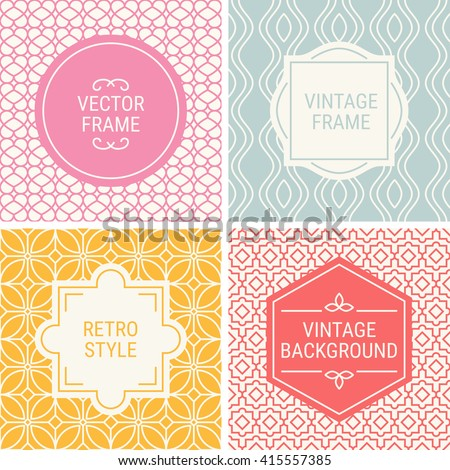 Set of vintage frames in Pink, Grey, Yellow, Red and Beige on mono line seamless background. Perfect for greeting cards, wedding invitations, retro parties. Vector labels and badges - stock vector