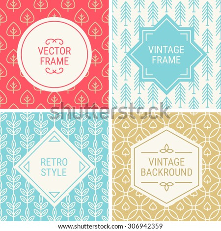 Set of vintage frames in Red, Blue, Gold and Beige on mono line seamless background. Perfect for greeting cards, Christmas gift paper, retro parties. Vector labels and badges - stock vector
