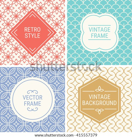 Set of vintage frames in Red, Cyan, Violet, Gold and Beige on mono line seamless background. Perfect for greeting cards, wedding invitations, retro parties. Vector labels and badges - stock vector