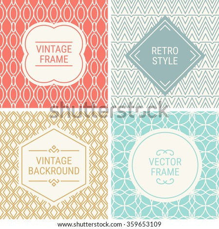 Set of vintage frames in Red, Grey, Gold, Blue and Beige on mono line seamless background. Perfect for greeting cards, wedding invitations, retro parties. Vector labels and badges - stock vector