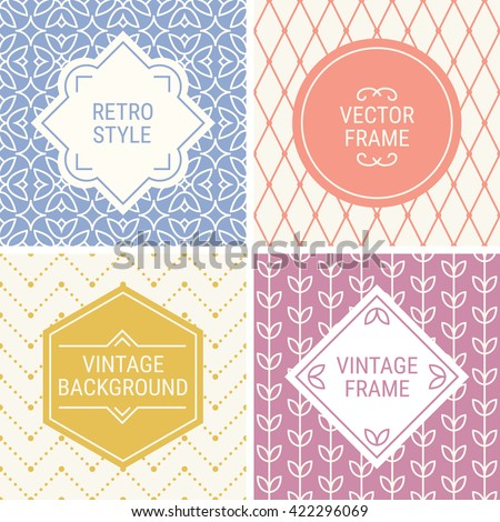 Set of vintage frames in Violet, Pink, Gold, Purple and Beige on mono line seamless background. Perfect for greeting cards, wedding invitations, retro parties. Vector labels and badges - stock vector