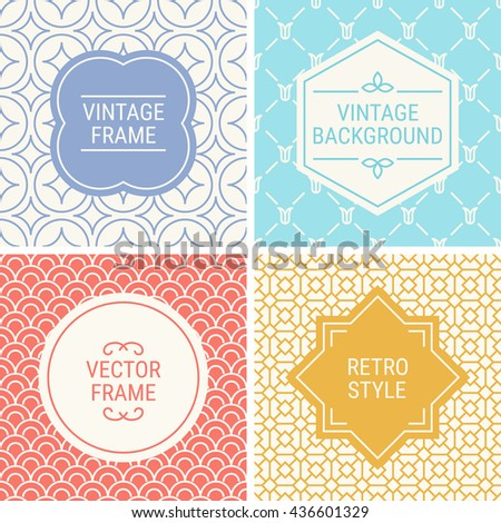 Set of vintage frames in Violet, Turquoise, Red, Gold and Beige on mono line seamless background. Perfect for greeting cards, wedding invitations, retro parties. Vector labels and badges - stock vector