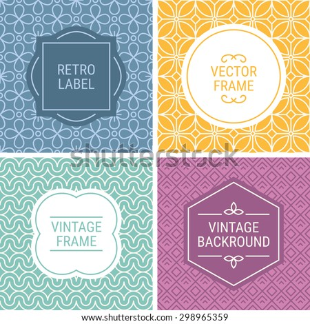 Set of vintage frames in Violet, Yellow, Turquoise, Purple and Beige on mono line seamless background. Perfect for greeting cards, wedding invitations, retro parties. Vector labels and badges - stock vector