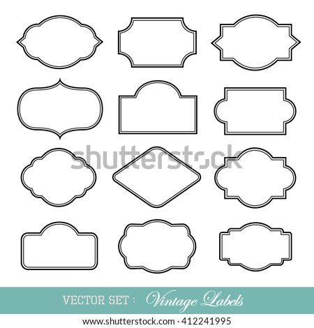 Set of vintage frames isolated on white. Vector illustration. - stock vector
