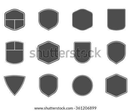 Set of vintage frames, shapes and forms for logo, labels, insignias with lines. Use for travel, camping or other emblems. Vector logotype sillhouette design - stock vector