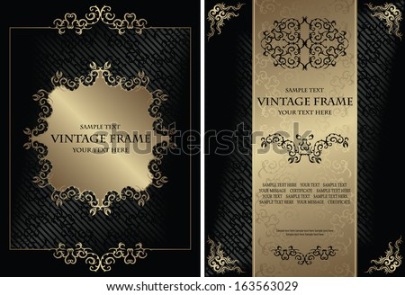 Set of vintage frames. Vintage background with a frame. Luxury design.  Can be used as certificate, diploma and other             - stock vector