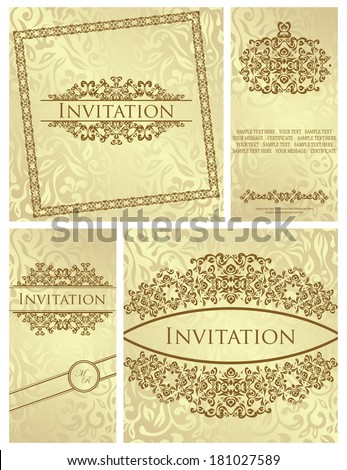 Set of vintage frames. Vintage floral background with frame. Can be used as a wedding invitation