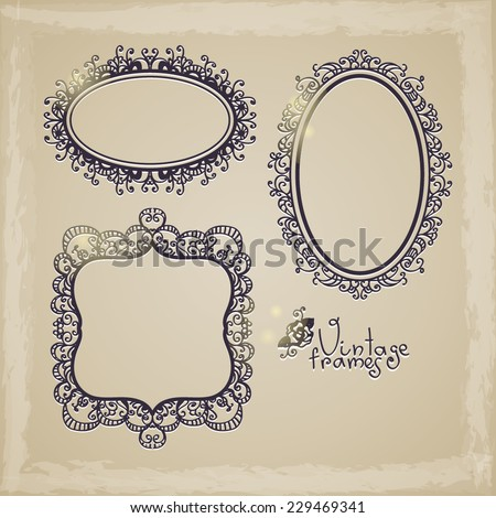 set of vintage frames with curly ornaments - stock vector