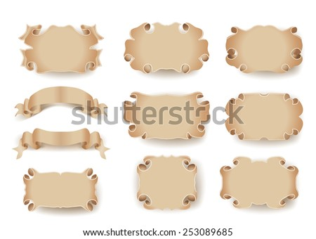 set of vintage frames with scrolls - stock vector
