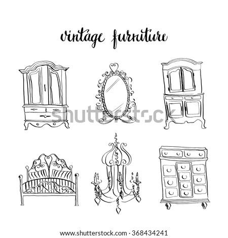 Set Of Vintage Furniture Doodle Style Interior Design Elements Hand Drawn Ink Sketch Illustration