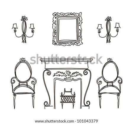 Set of vintage furniture silhouettes. Vector illustration - stock vector