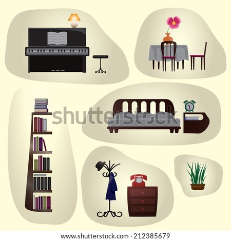 Set of vintage furniture: table, chairs, a piano, a stool, bookcase, bed, rack, cupboard, alarm clock, a lamp, a vase with a flower.