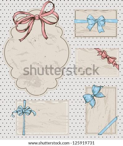 Set of vintage gift bows. Vector illustration EPS8 - stock vector