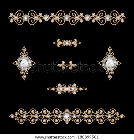Set of vintage gold borders, ornamental vector dividers on black, eps10 - stock vector