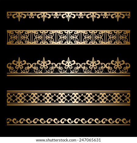 Set of vintage gold ornamental borders, decorative vector lines on black - stock vector