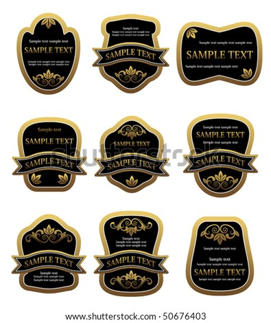 Set of vintage golden labels. Jpeg version also available in gallery - stock vector